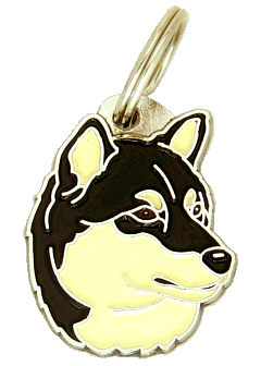 SHIBA INU BLACK AND WHITE - pet ID tag, dog ID tags, pet tags, personalized pet tags MjavHov - engraved pet tags online